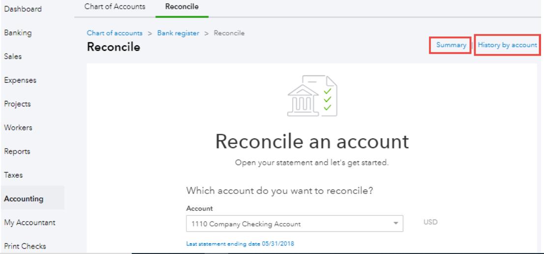 Bank reconciliation in QuickBooks