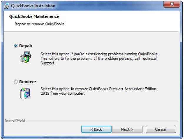 Repair QuickBooks Installation files