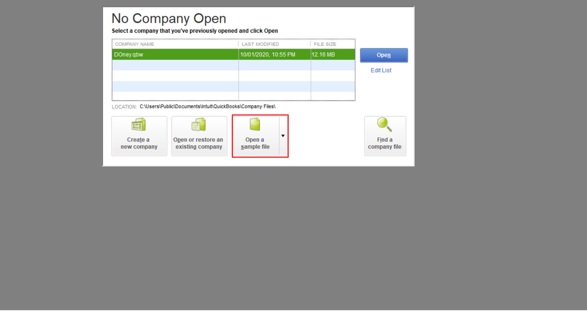 sample company file image